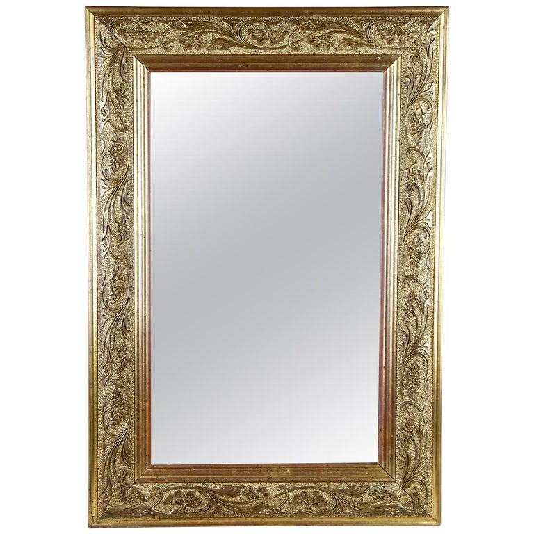 Golden Art Nouveau Mirror, Austria, circa 1900 For Sale