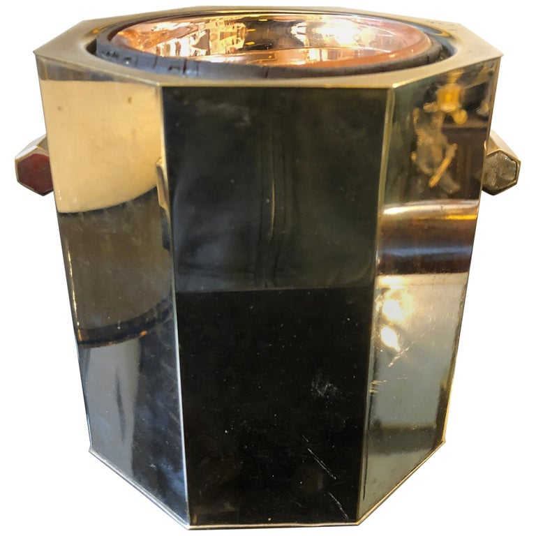 Modernist Silver Plated Italian Ice Bucket, circa 1970 For Sale