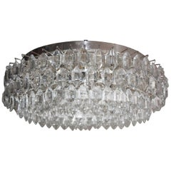 Large Glass Silvered Flush Mount by Bakalowits & Soehne, Austria, circa 1960s