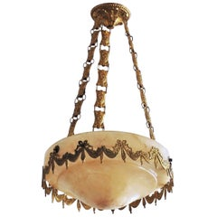 Early 20th Century Spanish Hand Carved Alabaster Pendant, Chandelier
