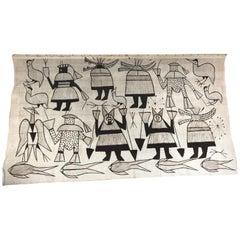 Large Modernist Mounted Senufo Korhogo Textile/Mud Cloth
