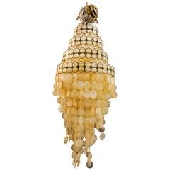 Verner Panton Style Mutter der Perle und Kronleuchter aus Messing, 1970er Jahre