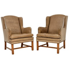 Pair of Antique Swedish Leather Wingback Armchairs