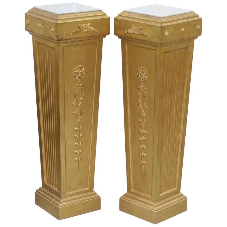 Pair of French 19th Century Giltwood Louis XVI Carrara Marble Pedestal Columns For Sale