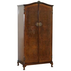1930s Burr Walnut Double Bank Wardrobe and Pigeon Holes One of Two Part of Suite