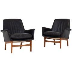 Set of Two Easy Chairs with Stool by Tove & Edvard Kindt Larsen
