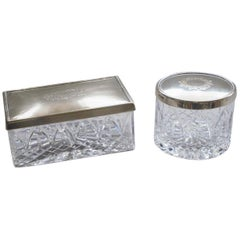 Art Deco Set of Two Cut Crystal and Sterling Silver Boxes by Topázio, Portugal