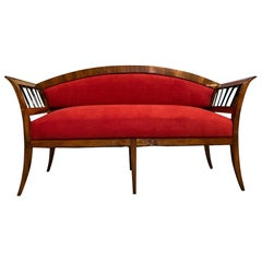 Original Restored Antique Biedermeier Sofa Walnut with Red Fabric Upholstery