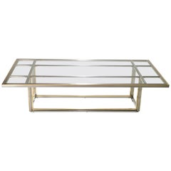 Hollywood Regency Large Brass Chrome Coffee Table Romeo Rega, 1970s