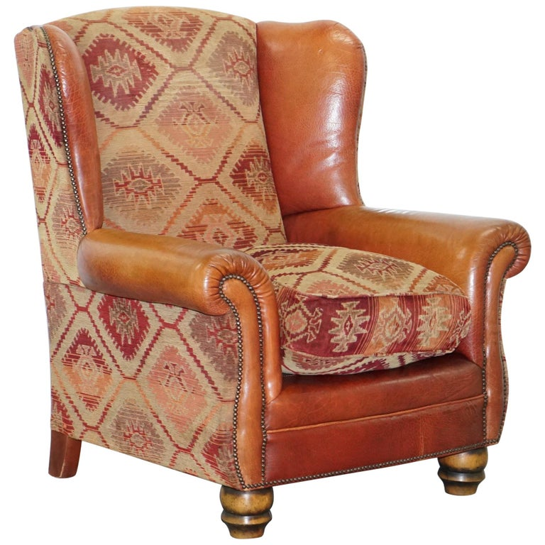 Tetrad Eastwood Brown Leather and Kilim Upholstery Armchair Lovely For Sale