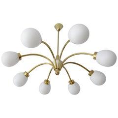 Large  Brass Glass Sputnik Chandelier Pendant Light, Stilnovo Gio Ponti Era