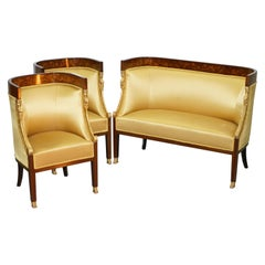1870 French Empire Marquetry Inlaid Suite Berger Armchairs & Settee Canape, Pair