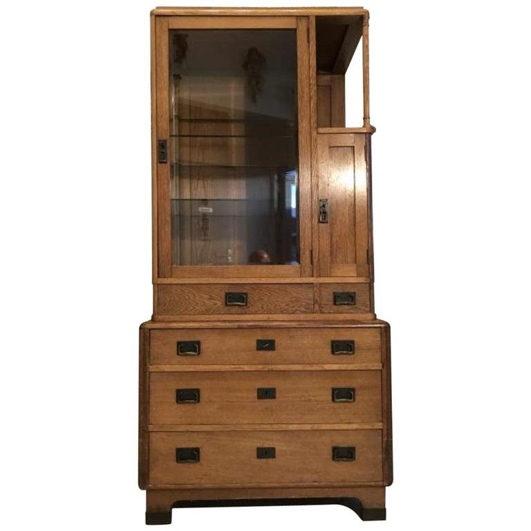 Rare Art Nouveau Showcase Bookcase Glass Cabinet