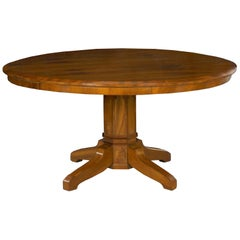 Biedermeier Style Antique Walnut Circular Round Dining Table, 19th Century