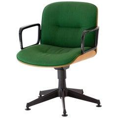 Italian Swivel Bent Oakwood Armchair by Ico Parisi for MIM Roma, 1960s