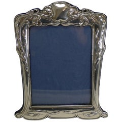 Large Antique English Art Nouveau Sterling Silver Photograph Frame, 1902
