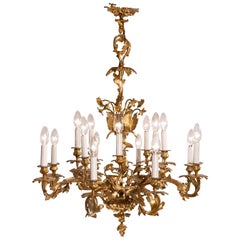 Louis XV Rococo Style 16-Light Bronze Chandelier with Leaf and Flower Motifs