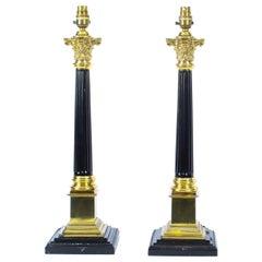 Antike paar Regency Stil korinthischen Säule Tischleuchten Ende 19. Jh.