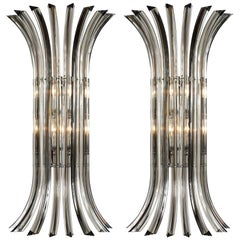 Venini Murano Clear/Black Filgree Glass Large Wall Sconces, Mid-Century Modern