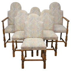 Early 20th Century Set of Six Oak Upholstered Chairs