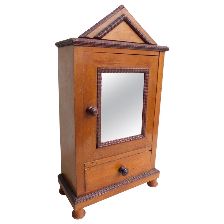 19th Century French Miniature Cabinet Armoire with Mirrored Door For Sale