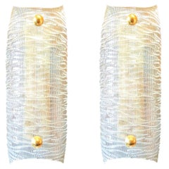 Pair of Mid-Century Modern Clear Textured Murano Glass and Brass Sconces, 1960s