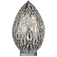 Egg Medium 2 Table Lamp, Chrome Finish, Arabesque Style, Italy