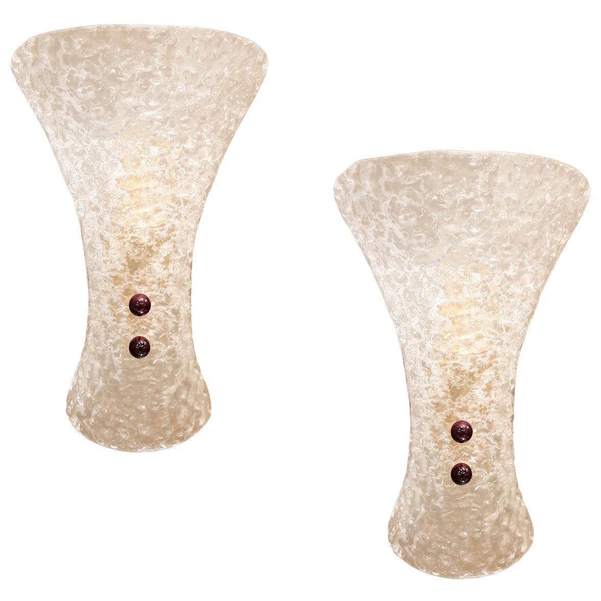 Murano Clear Glass & Brass Mid-Century Modern Sconces Barovier style Italy 1970s