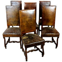 Set of Six 19th Century Hand Carved Walnut and Distressed Leather Dining Chairs