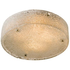 Huge Thick Textured Glass Flush Mount Ceiling Light by Kaiser, 1960s
