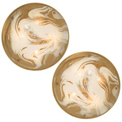 Pair of Brass and Blown Murano Glass Wall Lights by Hillebrand