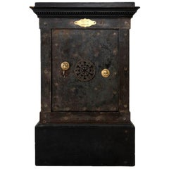 Vaissier, Black Patina Steel and Lacquered Wood Safe, circa 1850
