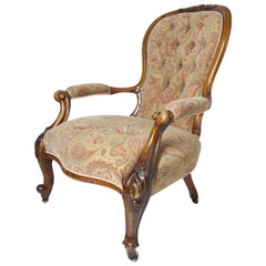 Mid-19th Century Spoonback Open Armchair Walnut, English, circa 1850