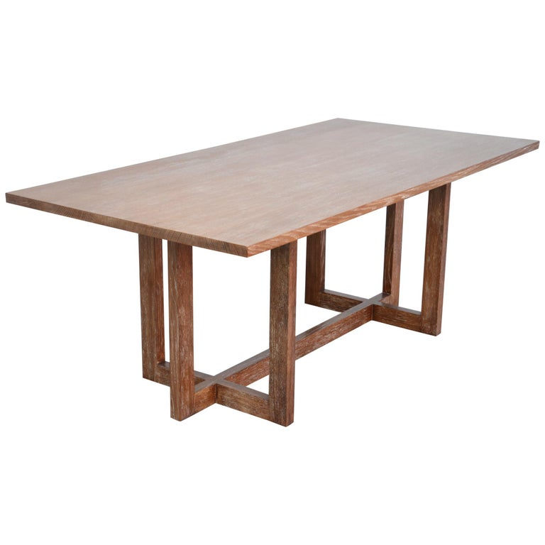 Cerused, Rift-Sawn White Oak Dining Table For Sale