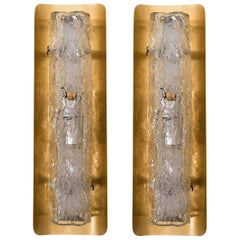 Pair of Large Blown Murano Glass and Brass Wall Lights by Hillebrand, 1960s