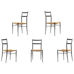 Gio Ponti Superleggera Dining Chairs Edition 'De Bijenkorf' Set of Five