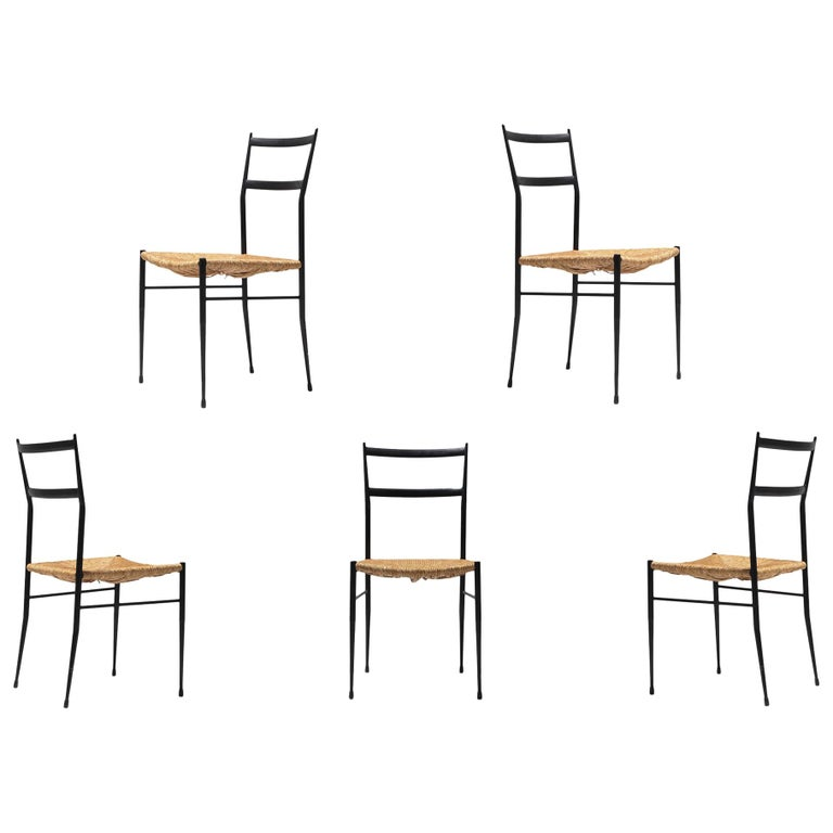 Gio Ponti Superleggera Dining Chairs Edition 'De Bijenkorf' Set of Five For Sale