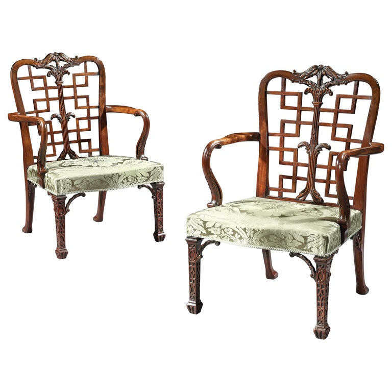 Pair of 18th Century George III Chippendale Mahogany Chinoiserie Armchairs For Sale