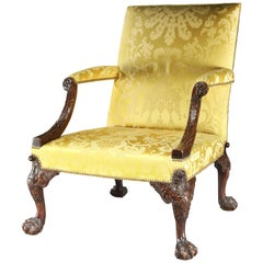 18th Century George II Walnut Library Armchair Attributed to Giles Grendey