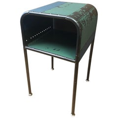 Bedside End Table of Artist-Made Vintage Industrial Reclaimed Steel
