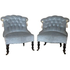 French Pair of Napoleon III Tufted Blue Slipper Chairs