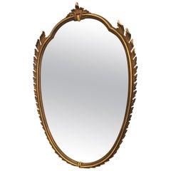 Paolo Buffa Italian Mid Century Oval Gilded Wall Mirror