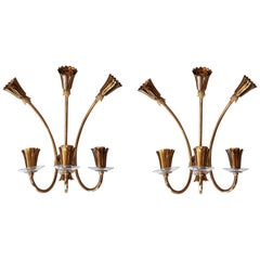 Pair of Brass and Glass Mid-Century Modern Sconces, Stilnovo Style, Italy, 1960s