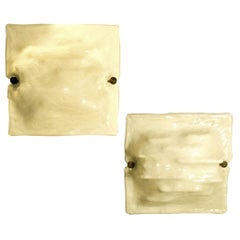 Pair of Square Mid-Century Modern Signed Venini Milk Murano Glass Wall Sconces