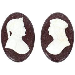 Antique Italian Marble Profile Plaques of Virgil & Dante, 19th Century