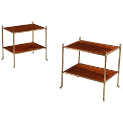Pair of English Mahogany Wood and Brass Two-Tier Etageres or Side Tables