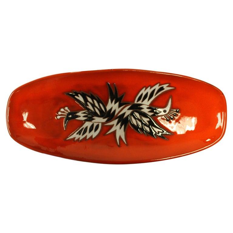 Jean Picart Le Doux, Large 'Oiseaux' Ceramic Bowl, 1960s For Sale