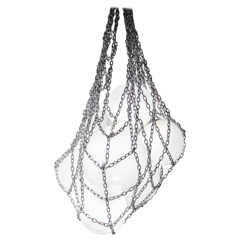 Modern Helmi Hand Blown Green Glass and Steel Net Contemporary Chandelier For Sale
