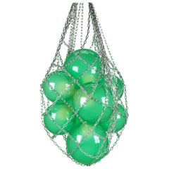 Helmi Hand Blown Green Glass and Steel Net Contemporary Chandelier