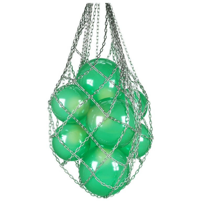 Helmi Hand Blown Green Glass and Steel Net Contemporary Chandelier For Sale